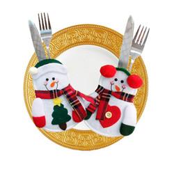 Cute Merry Christmas Tableware Cover Santa Snowman Forma forchetta coltello Cover Bag Decorazioni natalizie Drop Shipping da