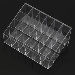 cajas de regalo de satén al por mayor Rebajas Venta al por mayor- nuevo envío gratuito Clear Acrylic 24 Lipstick Holder Display Stand Cosmetic Organizer Maquillaje Case # 9014