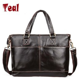 Wholesale High Quality Leather Notebooks - Male bag men's briefcase genuine leather luxury Designer Notebook business male bag vintage laptop high quality 2017 New fashion