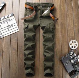 Wholesale Multi Pocket Trousers Jeans - Men's Army Green Military Jeans Cargo Pants Slim Fit Multi Pocket Designer Denim Trousers For Male Elastic Runway Jeans #9008