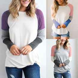 Women Designer T-shirt Autumn Spring Fall New Colors Patchwork Design Casual  Sweet Cute Tops Long Sleeved Tee 512c65516