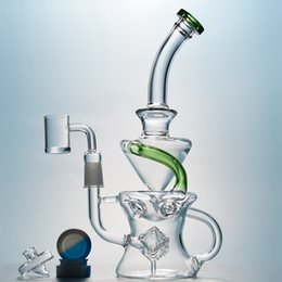 Wholesale cube cap - Tornado Percolator Glass Bongs Half Fab Egg Shape Swiss Perc Water Pipes Cube Vortex Recycler Beaker Bong With UFO Carb Caps Gavel Banger