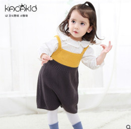 Wholesale Wear Sweater Dress - 2018 Spring New baby girls knited princess dresses Infant sweater out wear suspender dress toddler kids contrast color jumpsuits R2244