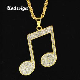 Collar de música colgantes online-Uodesign Rhinestone Rhythm Pendants Necklace Hombres Hiphop Music Note Cadena larga Collar de aleación de color oro