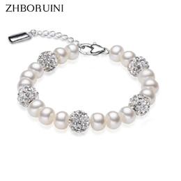 Wholesale Freshwater Lobsters - ZHBORUINI 2017 Charm Bracelet Pearl Jewelry Crystaline Bracelets Natural Freshwater Pearl 925 Sterling Silver Bracelet For Women