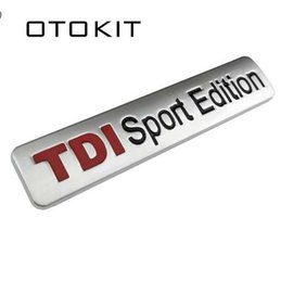 Turbo para vw online-Metal Rojo TDI Sport Edition Logo Turbo Car Carta Sticker Emblema Cromado Adhesivos para VW POLO GOLF CC TT JETTA