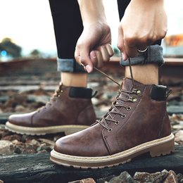 Wholesale Cheap Low Heels - wholesale Cheap New Men's Waterproof Work Safety Boots High Heel Leather Fashion Ankle Boots Western Martin Cowboy Boots EUR39-44