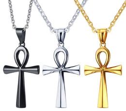 collar de llaves cruzadas Rebajas Colgante egipcio de acero inoxidable Key of Life Ankh Cross para hombres, 3 colores, cadena gratis 20