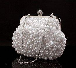 Niedliche schwarze kupplungen online-Nette volle Perlen bördelten weiße Brauthochzeitshandtaschen Abendparty eine Schulter-kleine Kupplungs-Abendtaschen billiges weißes