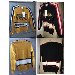 Wholesale Knit Sweaters For Winter Mens - Luxury Brand Mens Sweaters BLIND FOR LOVE Letter Pullover Christmas Tiger Sweaters Red Stripes Winter Sweatshirts Hoddies Long Sleeve 80102