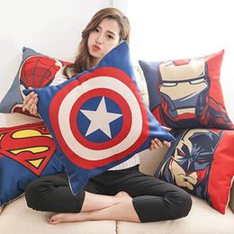 cojines de superman Rebajas Envío Gratis Superhéroe Iron Man Superman Capitán América Batman Almohada Funda de Cojín Throwing Funda de Almohada de Algodón Funda de Almohada Regalo 0151