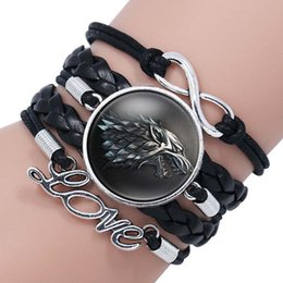 Wholesale wolf head bracelets - wolf head Game of Thrones A Song of Ice and Fire Logo Leather Bracelet infinity love Boys Glass Cabochon Bracelet movie jewelry 320047