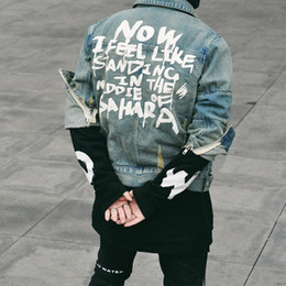 ropa de diseñador swag Rebajas 2018 hombres de alta calidad superior con cinturón ceñido diseñador de moda hip hop street denim US chaqueta botín Justin Bieber ropa L167