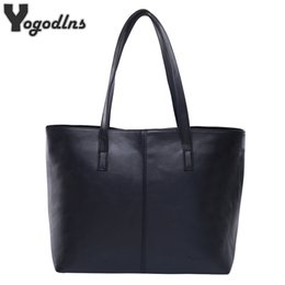 Wholesale Large Gray Leather Handbag - All Match Fashion Leather Handbag Simple Style Shoulder Bags for Women Gray  Black Large Capacity Casual Tote Bags High Quality
