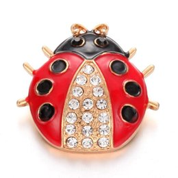 2019 mariquita de oro 6 Unids Nueva BIG Snap Jewelry Gold Rhinestone Ladybug Metal 18mm Snap Botones Fit Snap Button Pulsera Brazalete Mujeres Botones joyería mariquita de oro baratos