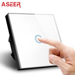 Wholesale Glass Gang - ASEER,EU Standard Luxry White Crystal Waterproof Glass Cover 1 Gang 1 Way Touch Screen Smart Wall Switch 1000W 110v-240v