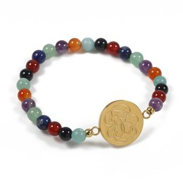 Wholesale Colorful Stone Bracelets - TL Colorful Stone Beads Bear Stainless Steel Charm Bracelet Jewelry Never Fade For Women 2 Colours Gift