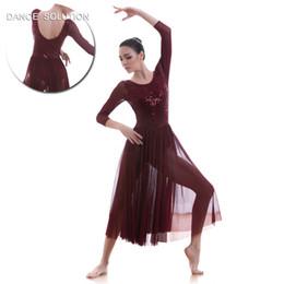 Rote pailletten-tanzkleid-hülse online-Wein Rot Mid-Sleeve Spitzenkleid für Erwachsene Mädchen Ballett, lyrische zeitgenössische Tanz Performance Kostüm lange Pailletten-Kleid 18704