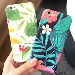 Wholesale Banana Case Iphone - Flowers Banana Leaf Crocodile Design Phone Case For iPhone 8 7 6 6s plus Hard Plastic Matte Back Cover