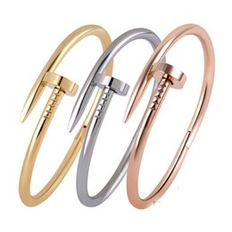 best titanium nail 2018 - Designer Nail Bracelets Gold +Silver +Rose Gold 3 Colors Titanium Steel 2018 Best-Selling Europe and the United States Gift to a Woman