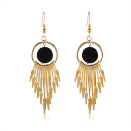 Wholesale Metal Gold Tassels Chain - New Listing fashion simple style geometric Round metal chain Article tassel earrings elegant ladies alloy earring