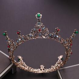 abiti da sposa regina rossa Sconti New Vintage Queen Red Crystal Crown Sposa Tiara Wedding Dress Accessori Accessori di colore bronzo rotondo copricapo Accessori per capelli