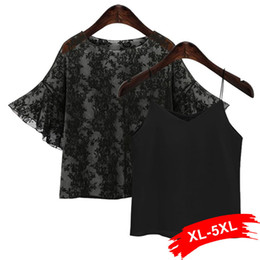 Wholesale Transparent Sexy Blouses - Plus Size Black Sexy Transparent Mesh Blouse 4Xl 5Xl Summer Flare Half Sleeve 2 Pieces Tops Shirts Women Twin Sets Sweet Blouses