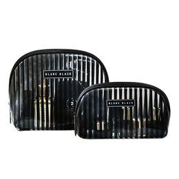 Wholesale Burgundy Products - Stripe Women's Cosmetic Bag PVC Makeup Pouch Toiletry Vanity Organizer Case Travel Wholesale Bulk Accessories Supplies Product