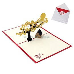 Wholesale Holiday Housing - Wholesale- 3D Pop UP Holiday Greeting Cards Cherry Tree House Christmas Thanksgiving Gift