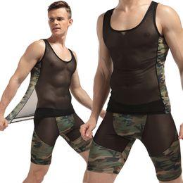 Wholesale Camouflage Sexy Underwear - Wholesale- Breathable Summer Undershirt Fashion Sexy Transparent Mesh O-Neck Vest Slim Boxers Suits 2017 Men Camouflage Nylon Underwear
