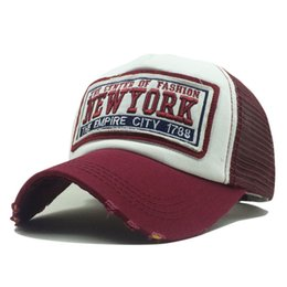 f922537a Chinese New Fashion Patch Summer Breathable Mesh Baseball Cap Hat Women Men  Adjustable New York Cotton