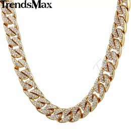 Wholesale w ice - Trendsmax 14mm Bling Hiphop Iced Out Curb Cuban Gold-color Necklace w Paved Clear Rhinestones Mens Womens Chain Jewelry GN432