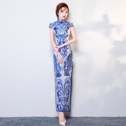 903a20b28477 chinese porcelain dress Coupons - Blue White Porcelain Satin Cheongsam  Chinese Traditional Wedding Qipao Long Cheongsam