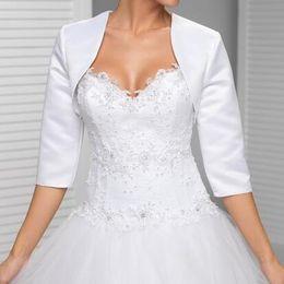 Nach Maß Weiß In der Hülsenhochzeitsjacke Neue Ankunftssatin Bolerojacken für Abendkleider Freies Verschiffen Brautjacke von Fabrikanten