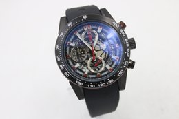 Wholesale Mm Specials - Special Sale Luxury Brand Tag Quartz Movement Men Watch Calibre 01 Carrera Full Function Rubber Band Hollow Dial Male Wristwatch