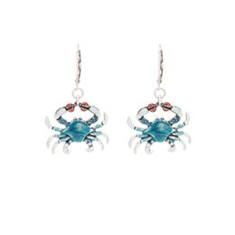 Krabbenohrringe online-stil krabben design drop legierung emaille ohrringe für frauen 2019 neue modeschmuck geschenk haif