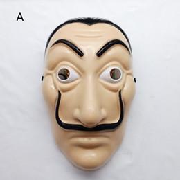 Kunststoff neu online-2 Stil La Casa De Papel maske 2018 Neue kinder erwachsene Horror Gesicht Halloween party Cosplay Kunststoff kopfbedeckungen Masken Spielzeug B