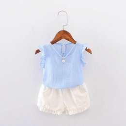 c0c1300158 Summer Baby Girls Short Sleeve Blouse Tops + Casual Shorts Infant Two  Pieces Suits Kids Clothing Set Conjunto Roupas De Bebe