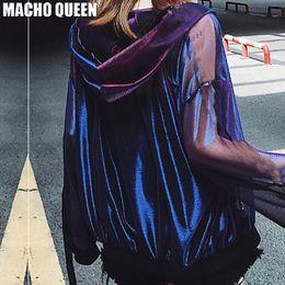 Quema la ropa online-Festival de verano Rave Ropa Desgaste Holográfico Hombre Ardiente Sudaderas con Capucha Trajes Holograma Mujeres Rainbow Chaqueta de Malla Metálica Ropa