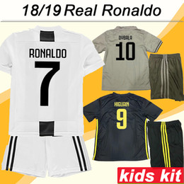 ronaldo grey jersey Coupons - 2018 19 RONALDO Kids Kit Soccer Jersey D.COSTA DYBALA Home Away 3rd Child Football Shirts MARCHISIO MANDZUKIC Boy and Girl Jerseys