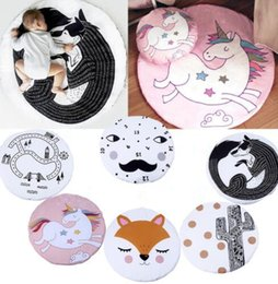 Wholesale fox games - ins Baby Creeping Mats Fox Unicorn Play Game Mat Decorative Crawling Blanket Kids Room Floor Carpet Baby Play Mat 90*90cm KKA5198