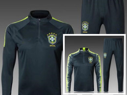 Wholesale training soccer uniforms - top quality jersey-Brazil training suits 2018 Uniforms shirts Chandal NEYMAR JR tracksuits Survetement long sleeve tight pants With zipper