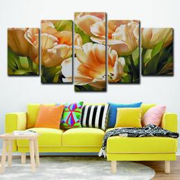 peintures tulipes abstraites Promotion Toile Mur Art Photos Chambre Décor À La Maison 5 Pièces Gracieuse Champagne Tulipes Fleur Peintures HD Prints Abstrait