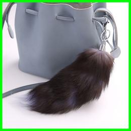 Wholesale Real Fox Tails - Real Fox Fur Tail Keychians Pom Pom Lady Bag Pendants Long Tail Car Key Chain Cute Fluffy Key Rings Pompoms Women Gifts