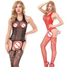 Lingerie porno érotique noir en Ligne-One Piece Costumes de Catsuit rouge noir Lingerie érotique Sexy Chaud Nounours Érotiques Body Femmes Dentelle Body Costume Porno Costume Intimes