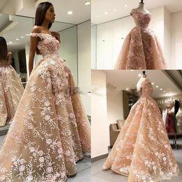 Wholesale Black Puffy Skirt Chiffon - MOE SHOUR Real Image Prom Dresses with Overskirt 2018 Modest 3D Floral Applique Off Shoulder Dubai Arabic Puffy Skirt Evening Wear Dress