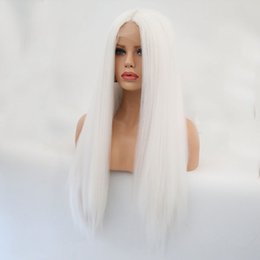 long straight wigs part middle Promo Codes - New Sexy White Long Kinky Straight Hair Middle Part Heat Resistant Glueless Synthetic Lace Front Wig For Women Natural Hairline 180% Density