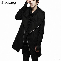 Wholesale Hooded Gloves - Winter Oblique zipper Gothic Clothing Harajuku Fashion Long Hooded Jacket Mens Trench Wool Coat Peacoat Overcoat With Gloves