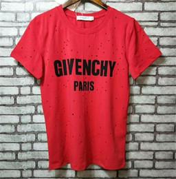 2019 chemises à trous Célèbre marque d'été Street wear Europe Paris Mode Hommes Haute Qualité Broken Hole tee manches courtes Coton T-shirt pour hommes Femmes T-shirt promotion chemises à trous