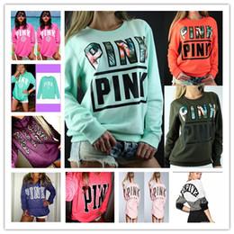 Wholesale Women S Leopard Sweatshirt Hoodies - New Pink Letter Leopard Hoodies Jacket Women Pink Purple Sweatshirts Letter Print Tops Pullover Shirt Coat Long Sleeve Sweater Pink005